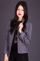 Vintage Cropped Wool Blazer in Grey