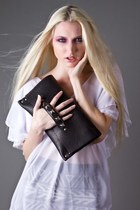 Black Handmade Clutch Girlo On A Motorcycle Bags