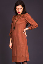 Vintage Boho Shirt Dress in Copper Thread