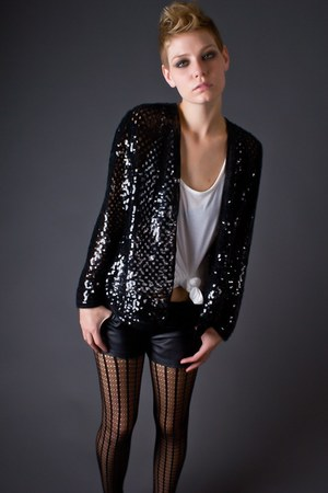black black sequin telltale hearts cardigan