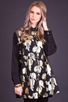 Vintage Metallic Rose Print Tunic