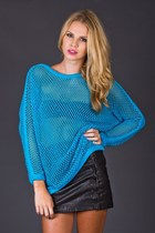 Vintage Electric Blue Fishnet Sweater