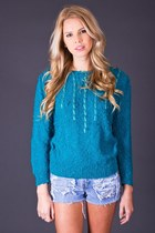 Vintage Gold Ribbon Sweater in Teal