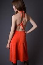 Carrot Orange Telltale Hearts Vintage Dresses