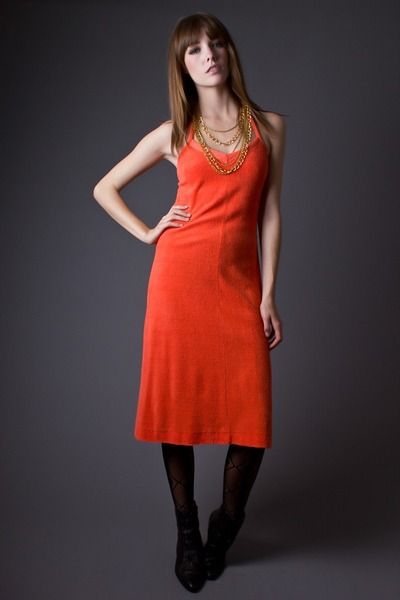 carrot orange telltale hearts vintage dress