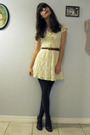 White-vintage-dress-gray-marshalls-stockings-brown-vintage-shoes