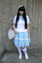white Bodyline shoes - white Bodyline bag - white Porcelain Doll stockings