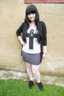 Black-dorothy-perkins-cardigan-white-offbrand-tights