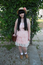 light pink New Yorker dress - peach Gate hat - dark brown Gate bag