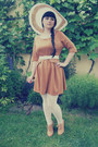 Bronze-atmosphere-dress-white-c-a-hat-white-orsay-tights
