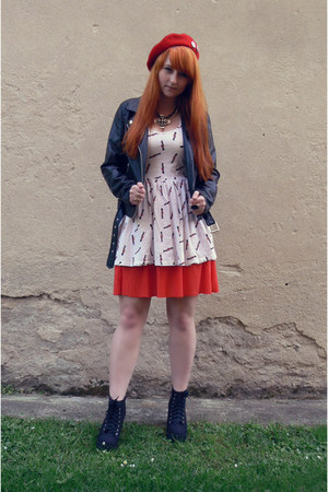 black H&M boots - white Denim Co dress - red beret H&M hat - black H&M jacket
