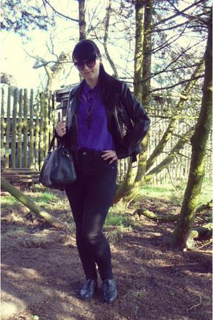 black Off-brand shoes - black Tally Weijl jeans - black biker jacket H&M jacket