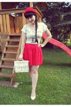 red bowler hat H&M hat - white satchel oodji bag - white rabbit Gate top