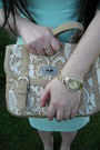Gold-c-a-ring-aquamarine-orsay-dress-beige-i-am-bag-gold-new-yorker-watch