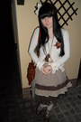 Brown-gate-bag-dark-brown-orsay-dress-cream-tally-weijl-socks