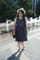 blue New Yorker necklace - navy united colors of benetton dress - beige H&M hat