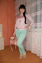 aquamarine lindex jeans - light pink New Yorker shirt - light pink thrifted bag