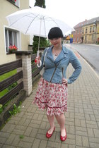red Deichmann flats - sky blue Pimkie jacket - silver Denim Co t-shirt