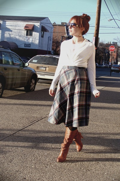 thrifted skirt - BCBG boots - banana republic blouse - coach sunglasses