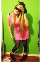 black Forever 21 leggings - pink Pac Sun dress - black Forever 21 boots - Hot To