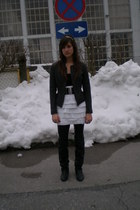 black Zara boots - white DIY skirt - gray Topshop jacket