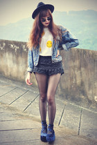 OASAP hat - denim jacket - Chicwish shorts - round sunglasses - cagecity t-shirt