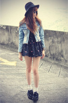creepers shoes - Choies dress - hat - denim OASAP jacket - round sunglasses