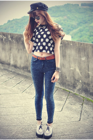 Topshop top - creeper Udobuy shoes - Choies hat - H&M belt