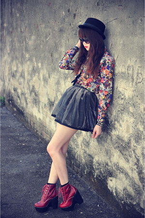 skirt - leather Jeffrey Campbell boots - Forever 21 hat - vintage shirt