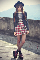 inlovewithfashion skirt - OASAP hat - leather motelrocks jacket