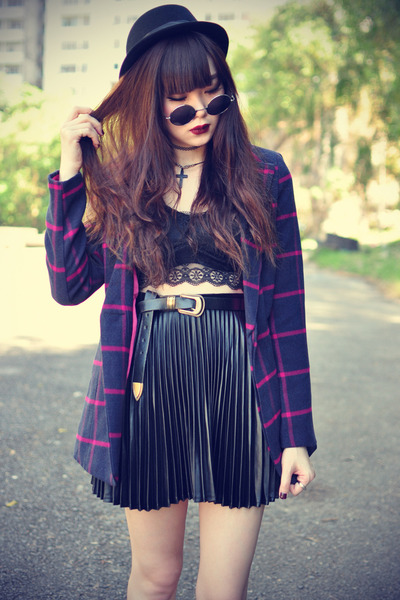 leather boots - Choies coat - Forever 21 hat - round sunglasses - bra top bra
