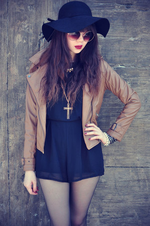 leather ianywear jacket - black hat - lace socks - round sunglasses