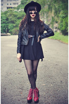 Jeffrey Campbell boots - studded Chicwish dress - OASAP hat