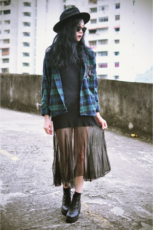 plaid shirt shirt - boots - younghungryfree dress - OASAP hat