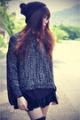 Sheer-shirt-choies-jumper-velvet-skirt-beanie-accessories