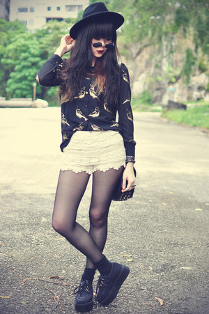 creepers shoes - OASAP hat - lace shorts - daisypotion sunglasses