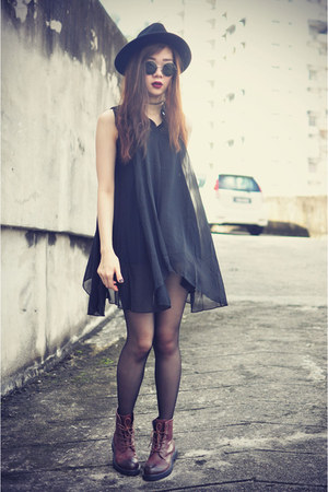 leather boots - dressvenus dress - OASAP hat - sunglasses