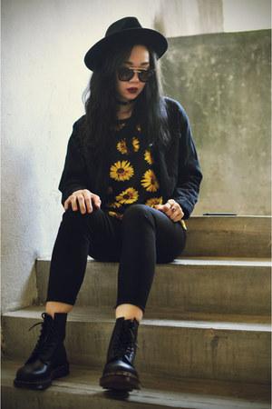 OASAP hat - Dr Martens boots - theeditorsmarket jacket - OASAP sunglasses