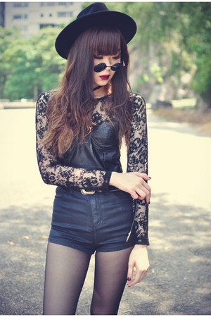 pu with lace motelrocks top - OASAP hat - Topshop shorts - round sunglasses