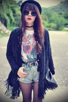 skull t-shirt - Forever 21 hat - cross shirt - denim shorts shorts
