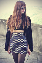 velvet blazer - round sunglasses - top - stud print Lovelysally skirt