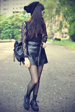 pu leather motelrocks skirt - creeper shoes - studded theeditorsmarket bag