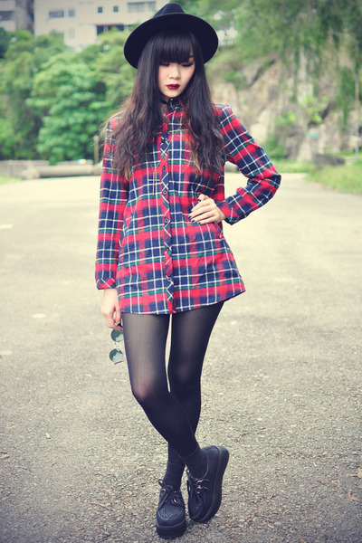 red plaid shirt ianywear shirt - creepers shoes - OASAP hat