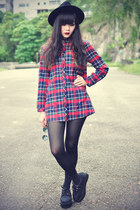 red plaid shirt ianywear shirt - creepers shoes - OASAP hat
