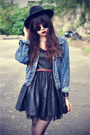 Creepers-shoes-leather-ohmylove-dress-forever-21-hat-studded-denim-jacket