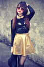 Meow-jumper-round-hat-sunglasses-pu-leather-skirt