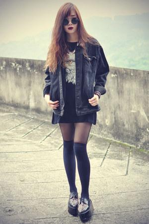 studded creeper shoes - OASAP hat - denim jacket - overknee socks