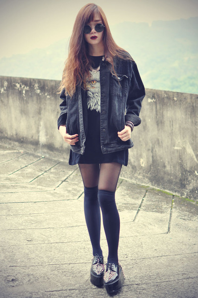 studded creeper shoes - OASAP hat - denim jacket - overknee socks