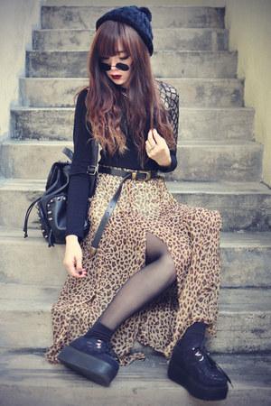 chicnova skirt - creepers shoes - studded theeditorsmarket bag