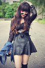 Denim-jacket-round-sunglasses-leather-skirt-sheinside-blouse